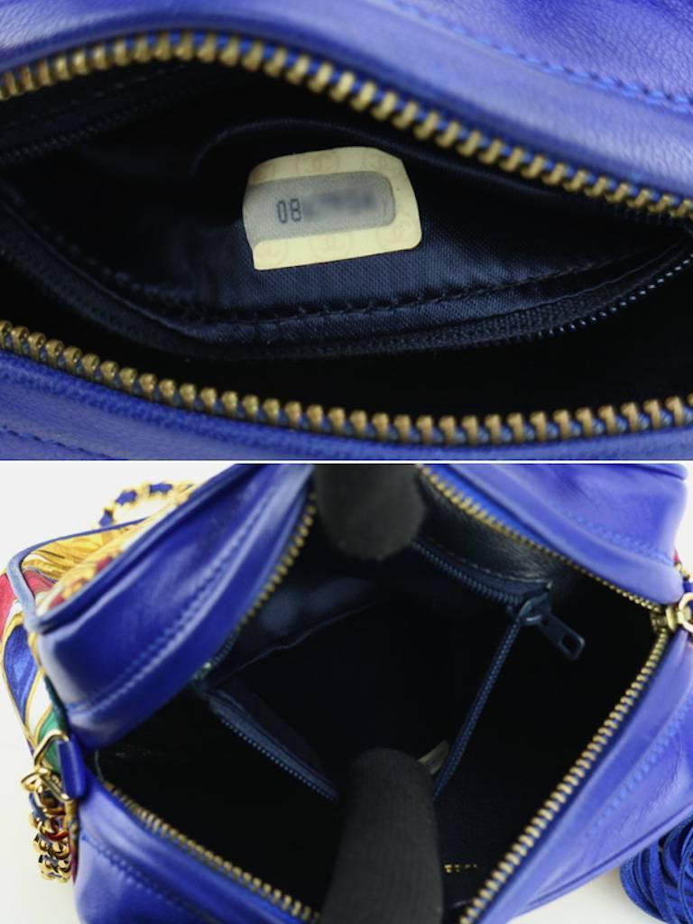 Chanel Blue Lambskin with Silk Gripoix Accessories Pattern Tassel Shoulder Bag For Sale 4