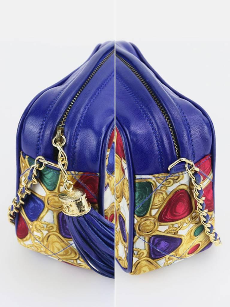 Chanel Blue Lambskin with Silk Gripoix Accessories Pattern Tassel Shoulder Bag 4