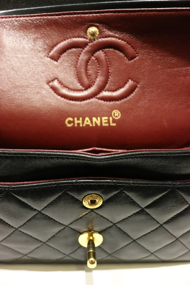 Chanel Classic Black Quilted Lambskin Double Flap Shoulder Bag 6