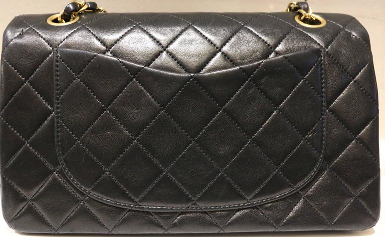 d1c75d2152fd Chanel Classic Black Quilted Lambskin Double Flap Shoulder Bag In Excellent  Condition For Sale In Sheung