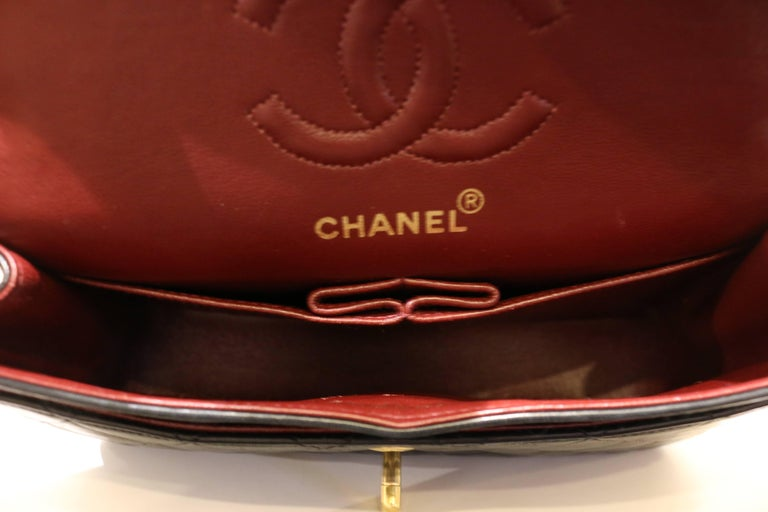 Chanel Classic Black Quilted Lambskin Double Flap Shoulder Bag 7