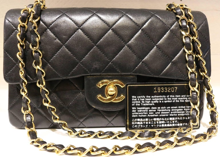 Chanel Classic Black Quilted Lambskin Double Flap Shoulder Bag 5