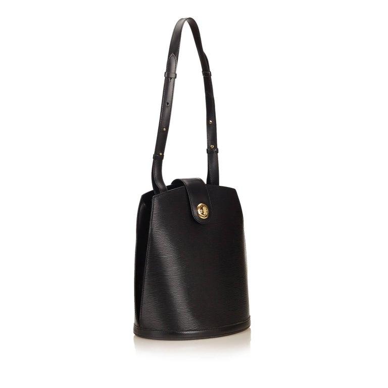 bb18c49ffd47 Louis Vuitton Black Epi Leather Cluny Bucket Shoulder Bag at 1stdibs