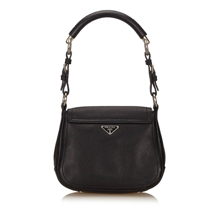 a4347ba836b2 Prada Black Leather Flap Shoulder Bag In Excellent Condition For Sale In Sheung  Wan, HK