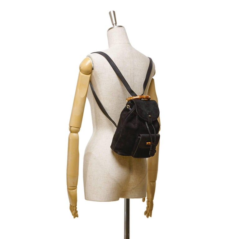 Gucci Black Suede Bamboo Backpack In Excellent Condition For Sale In Sheung Wan, HK