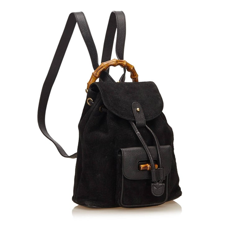 Gucci Black Suede Bamboo Backpack For Sale 3