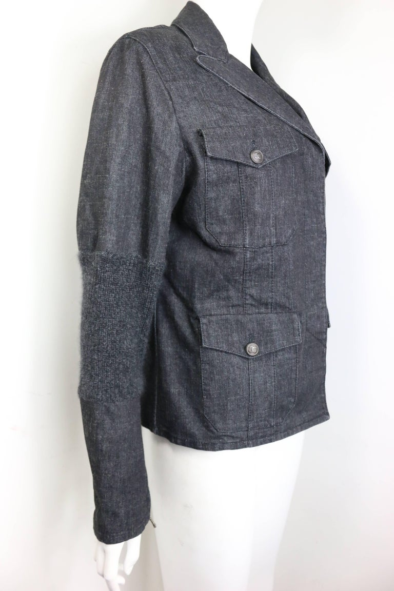 Black Fall 2003 Chanel Grey Denim with Wool Sleeves Jacket For Sale