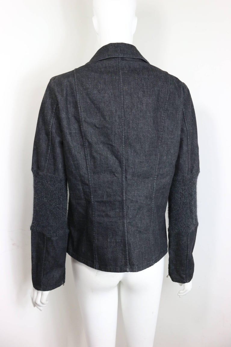 Fall 2003 Chanel Grey Denim with Wool Sleeves Jacket In Excellent Condition For Sale In Sheung Wan, HK