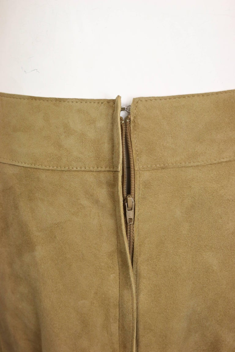 Women's Chanel Beige Suede Lambskin Leather Knee Length Pencil Skirt  For Sale