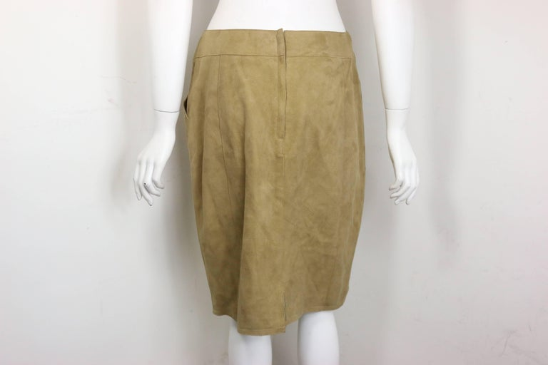 Chanel Beige Suede Lambskin Leather Knee Length Pencil Skirt  In Excellent Condition For Sale In Sheung Wan, HK