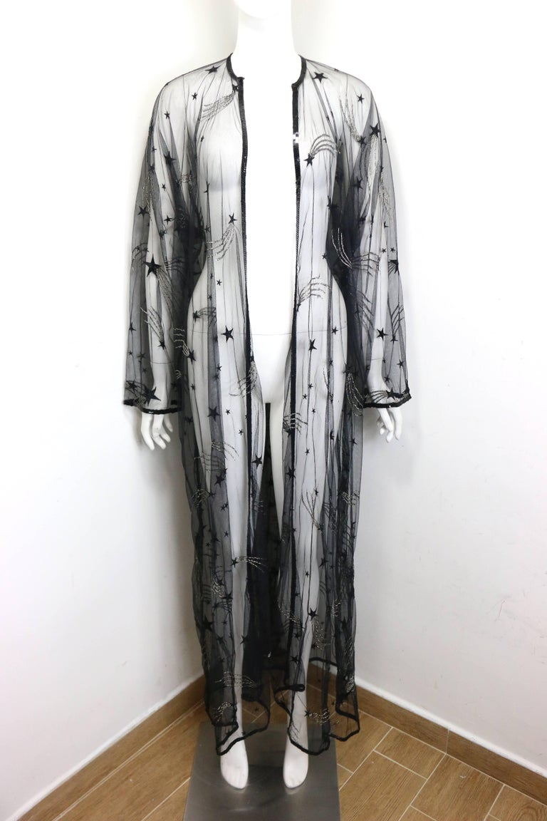 Chanel Embroidered See Through Evening Dressing Gown For Sale 1