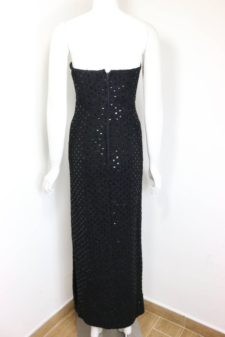 Chanel Black Tweed with Black Sequins Long Tube Evening Dress  2