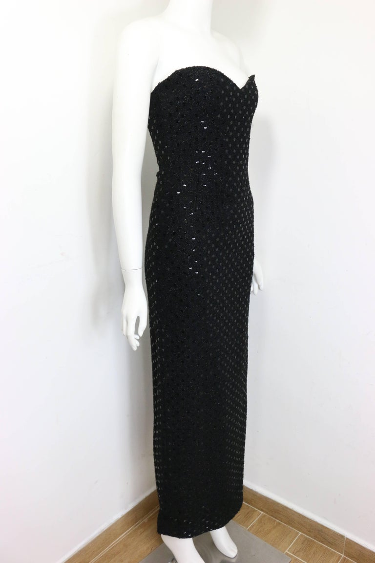 Chanel Black Tweed with Black Sequins Long Tube Evening Dress  5
