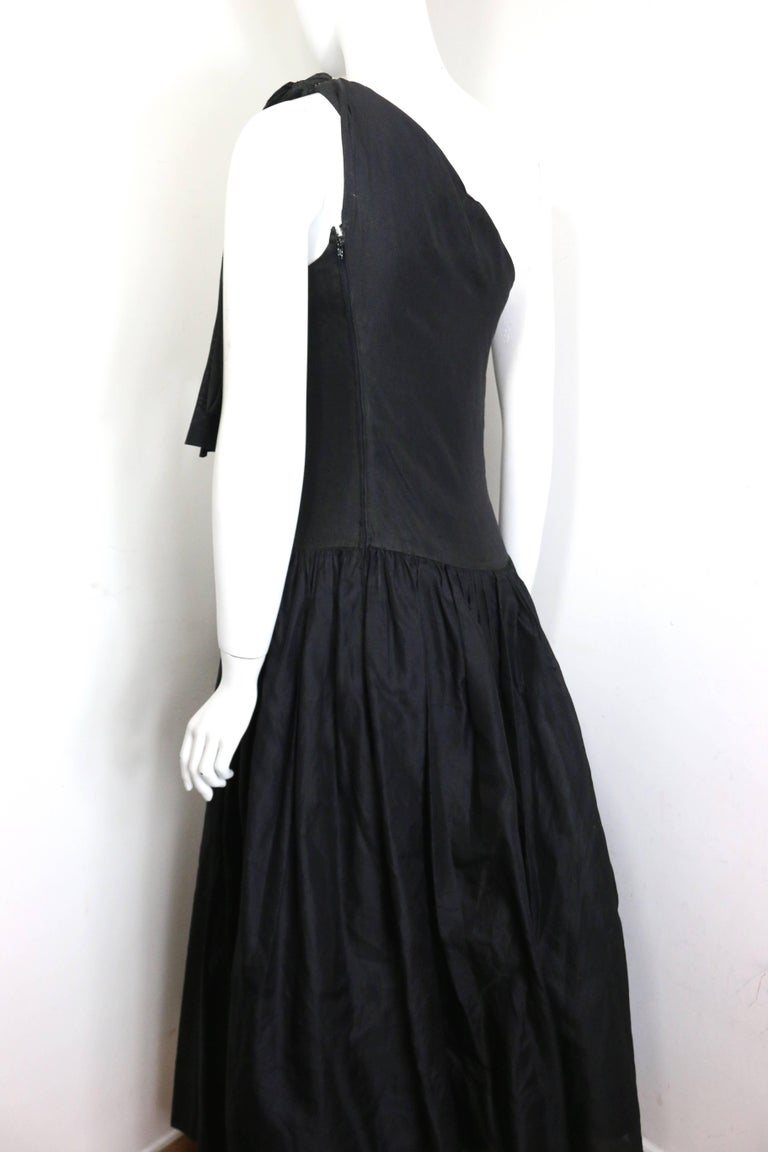 Chanel Black Silk Taffeta One Shoulder Evening Gown (Museum Quality)  For Sale 1