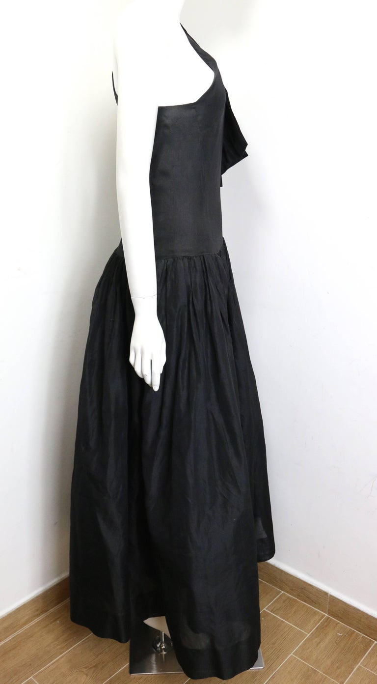 Chanel Black Silk Taffeta One Shoulder Evening Gown (Museum Quality)  For Sale 2