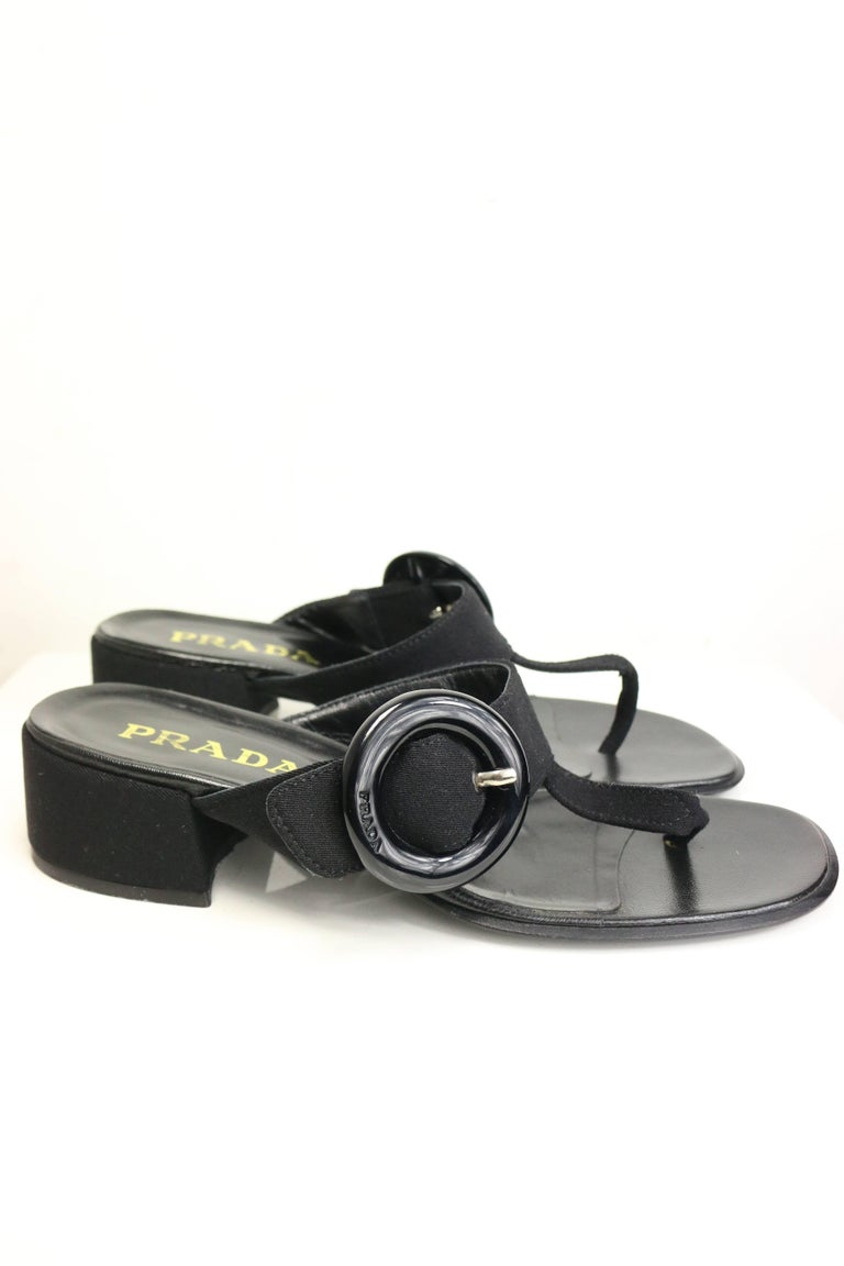 Prada Black Retro Style T - Shape Sandals  In Excellent Condition For Sale In Sheung Wan, HK