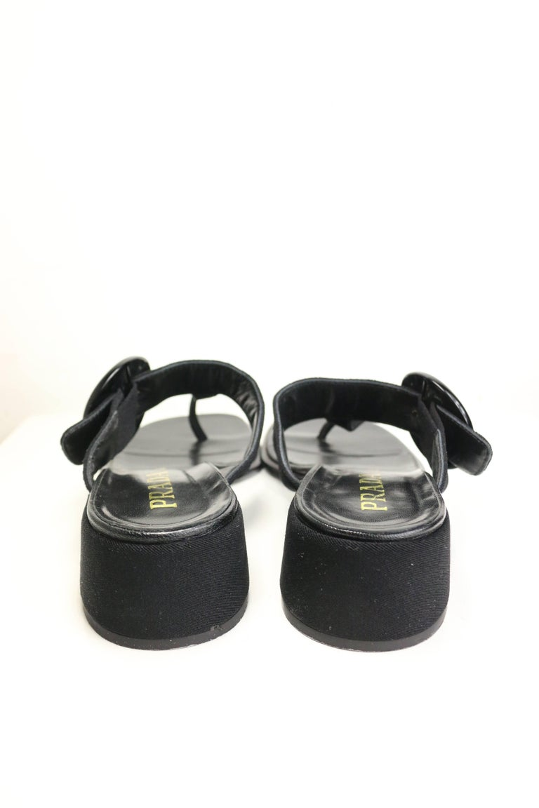 Prada Black Retro Style T - Shape Sandals  4