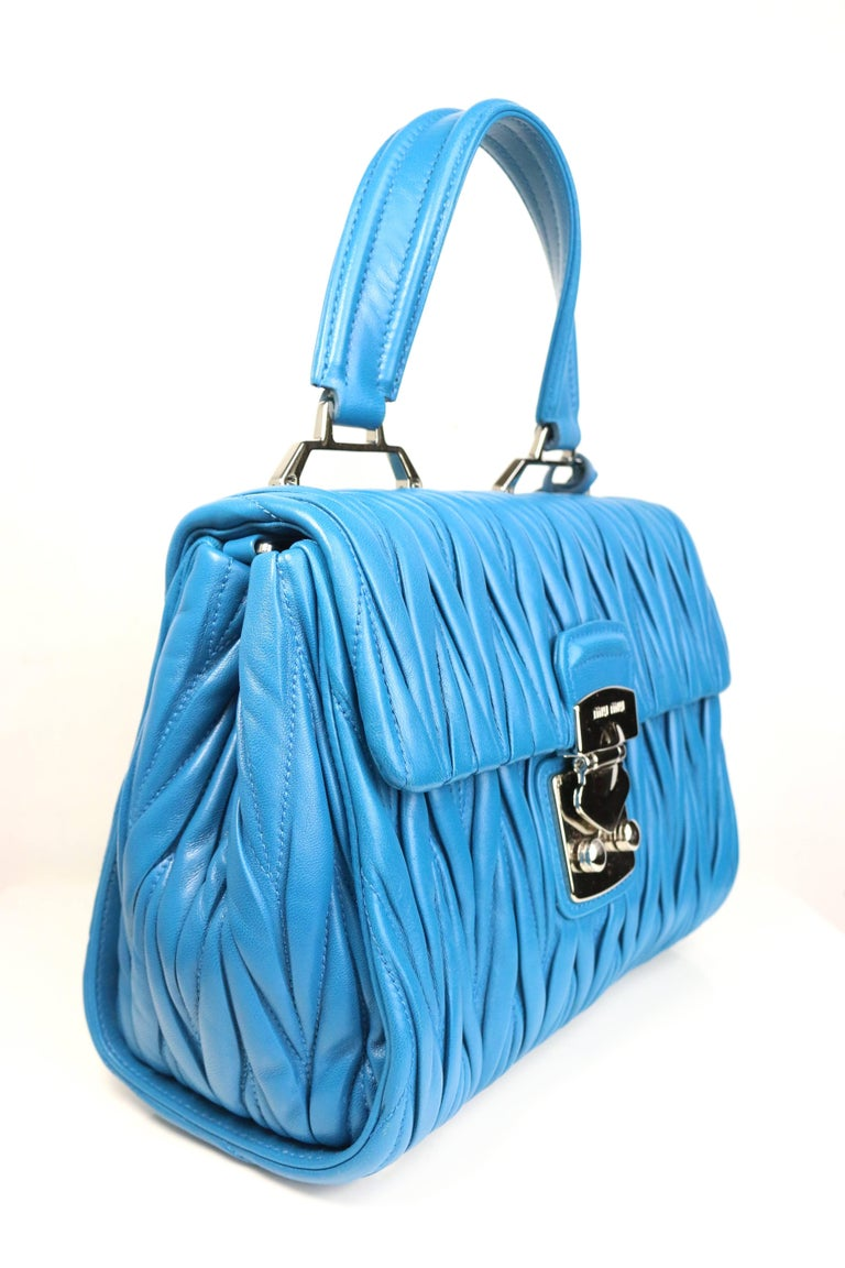 Miu Miu Blue Matelasse Nappa Leather Shoulder/Hand Flap Bag In Excellent Condition For Sale In Sheung Wan, HK