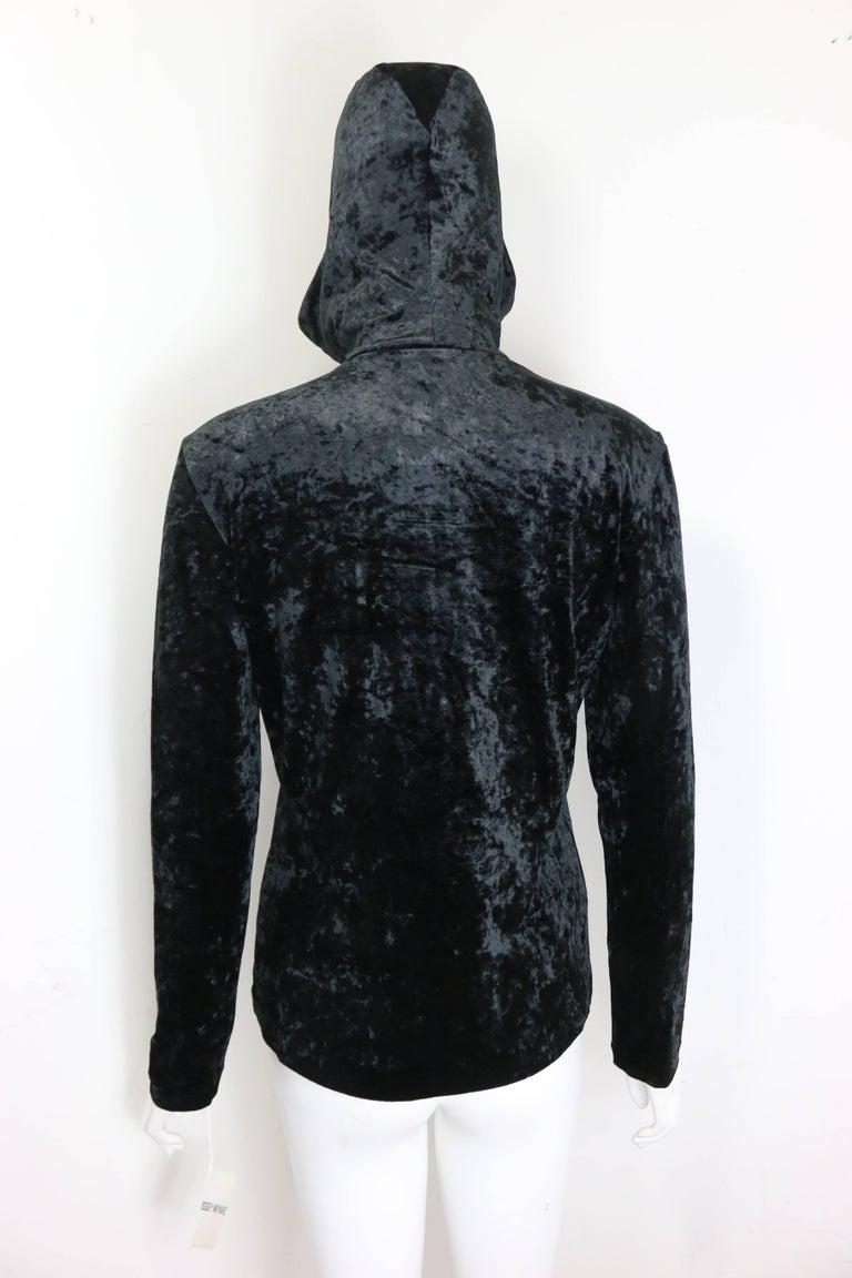 Rare and Unworn Issey Miyake Black Crush Velvet Zipper Sweater with Hoodie  For Sale 2