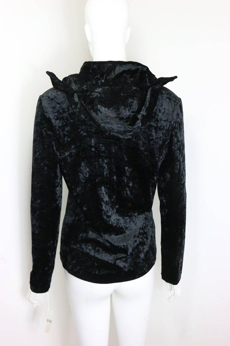 Rare and Unworn Issey Miyake Black Crush Velvet Zipper Sweater with Hoodie  For Sale 3