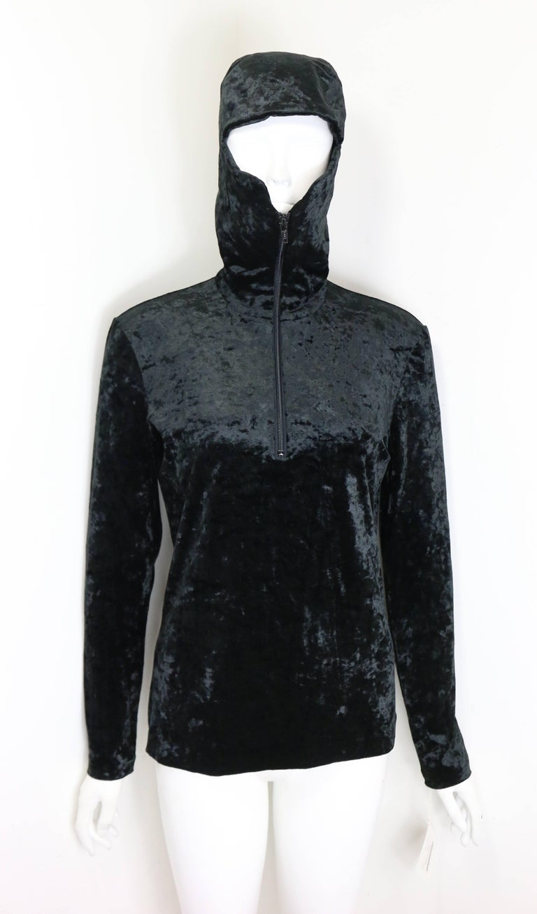 - Vintage 90s Issey Miyake black crush velvet zipper pullover sweater with hoodie. This hoodie top can be worn in different style.   - Made in Japan.   - Size M.   - 60% Triacetate, 30% Nylon, 10% Polyurethane.   - Shoulder: 14 inches. Bust: 32