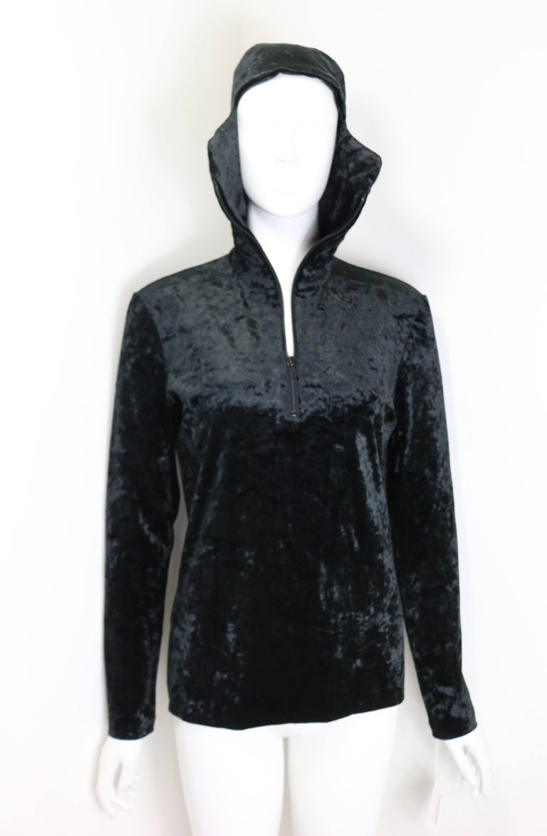 Rare and Unworn Issey Miyake Black Crush Velvet Zipper Sweater with Hoodie  In New Condition For Sale In Sheung Wan, HK