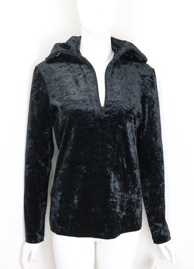 Rare and Unworn Issey Miyake Black Crush Velvet Zipper Sweater with Hoodie  For Sale 1