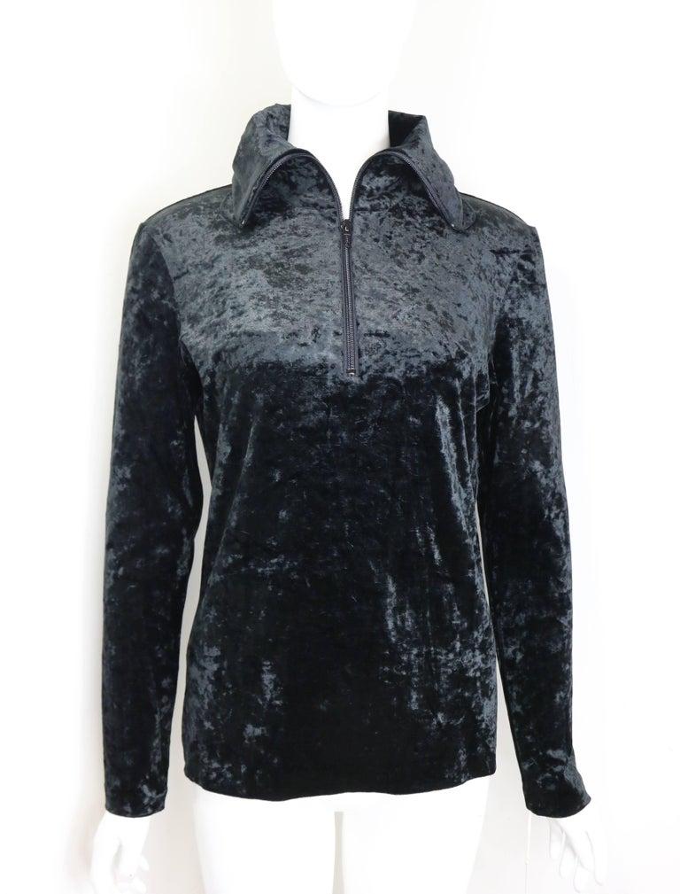 Women's Rare and Unworn Issey Miyake Black Crush Velvet Zipper Sweater with Hoodie  For Sale