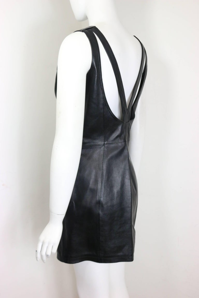 Women's Gianni Versace Iconic Black Leather Back Cut Out Dress  For Sale