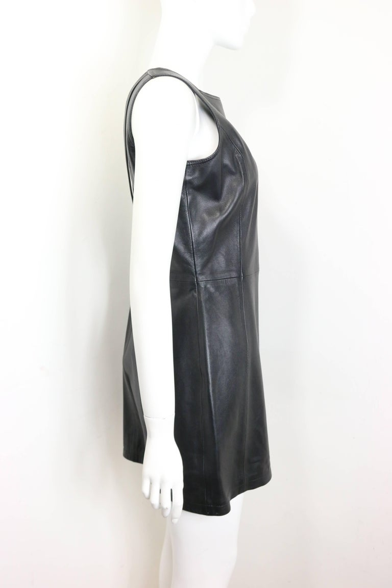 e3e5fe2709a Gianni Versace Iconic Black Leather Back Cut Out Dress In New Condition For  Sale In Sheung