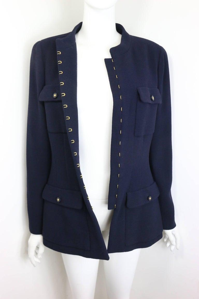 184cd5707 Chanel Dark Navy Military Inspired Style Mandarin Collar Wool Jacket