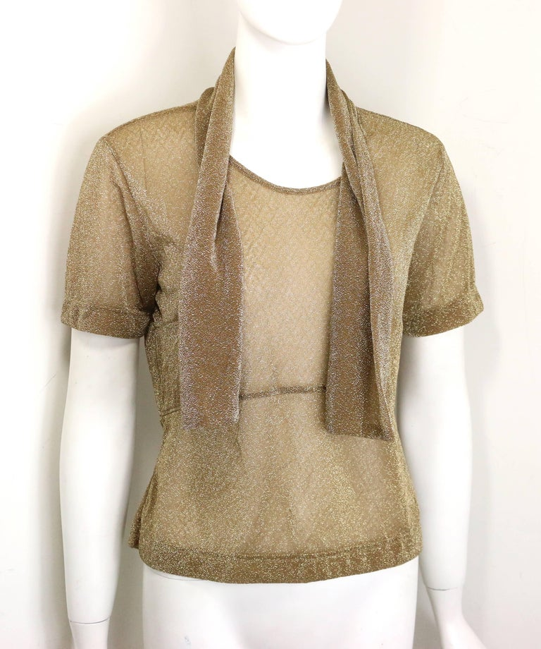 Brown Dries Van Noten Gold Metallic Cropped See Through Short Sleeves Blouse  For Sale