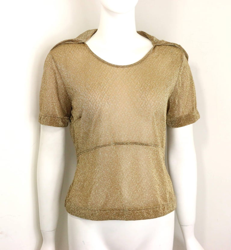 Dries Van Noten Gold Metallic Cropped See Through Short Sleeves Blouse  In New Condition For Sale In Sheung Wan, HK