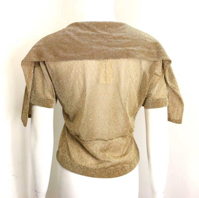 Dries Van Noten Gold Metallic Cropped See Through Short Sleeves Blouse  For Sale 1