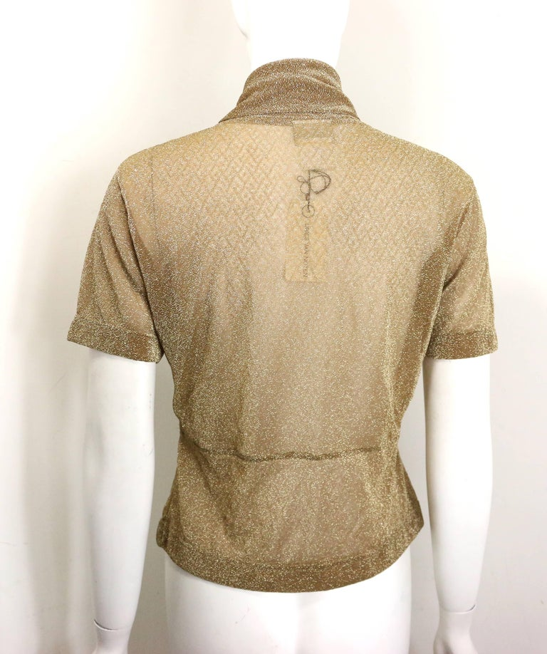 Women's Dries Van Noten Gold Metallic Cropped See Through Short Sleeves Blouse  For Sale