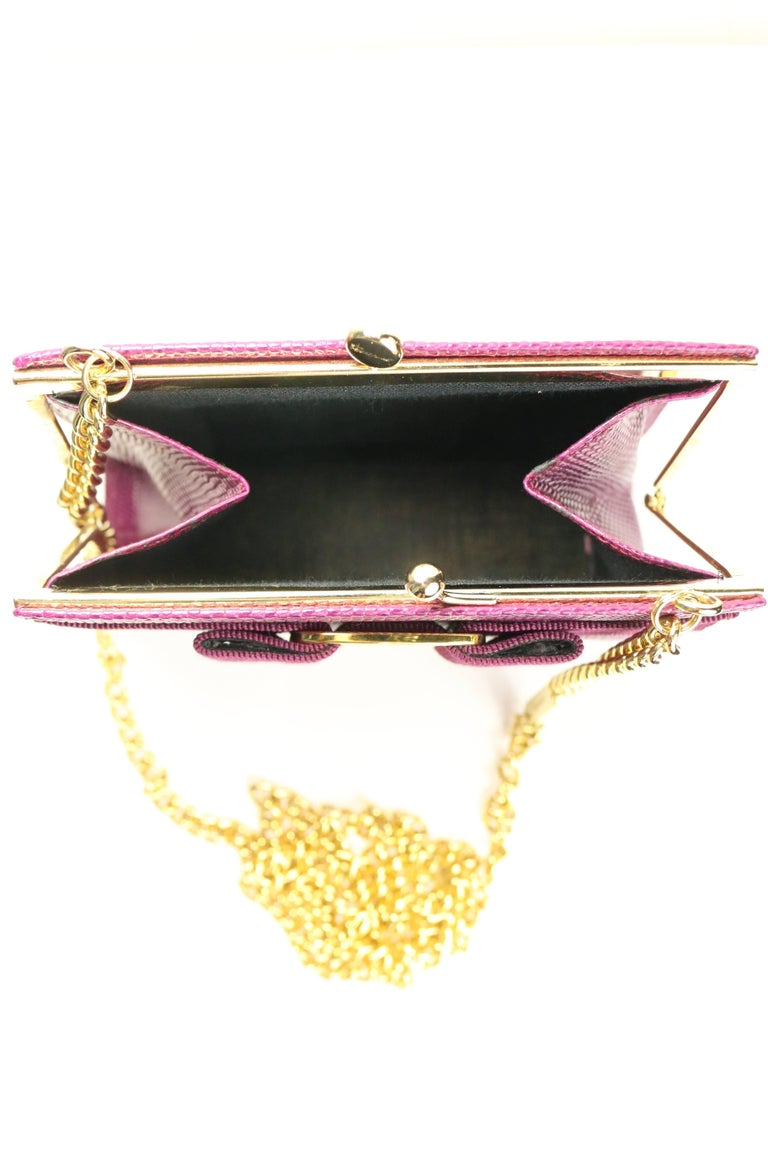 Salvatore Ferragamo Purple Lizard Skin Gold Chain Shoulder Bag For Sale 2