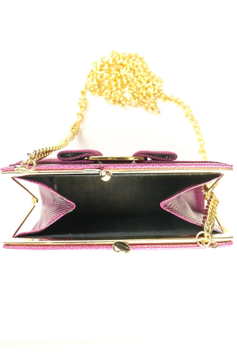 Salvatore Ferragamo Purple Lizard Skin Gold Chain Shoulder Bag For Sale 3