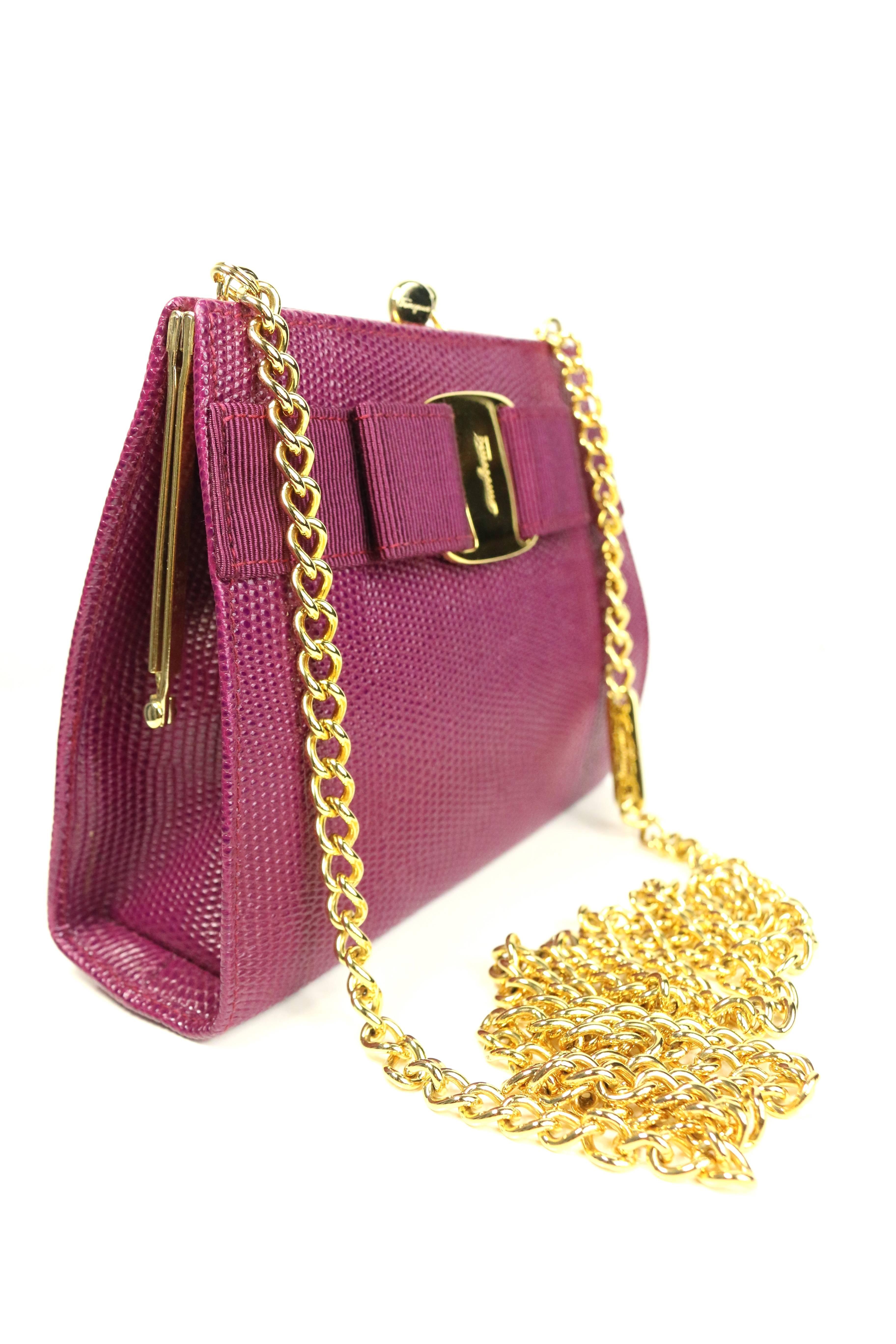 884e8ea41873 Salvatore Ferragamo Purple Lizard Skin Gold Chain Shoulder Bag at 1stdibs
