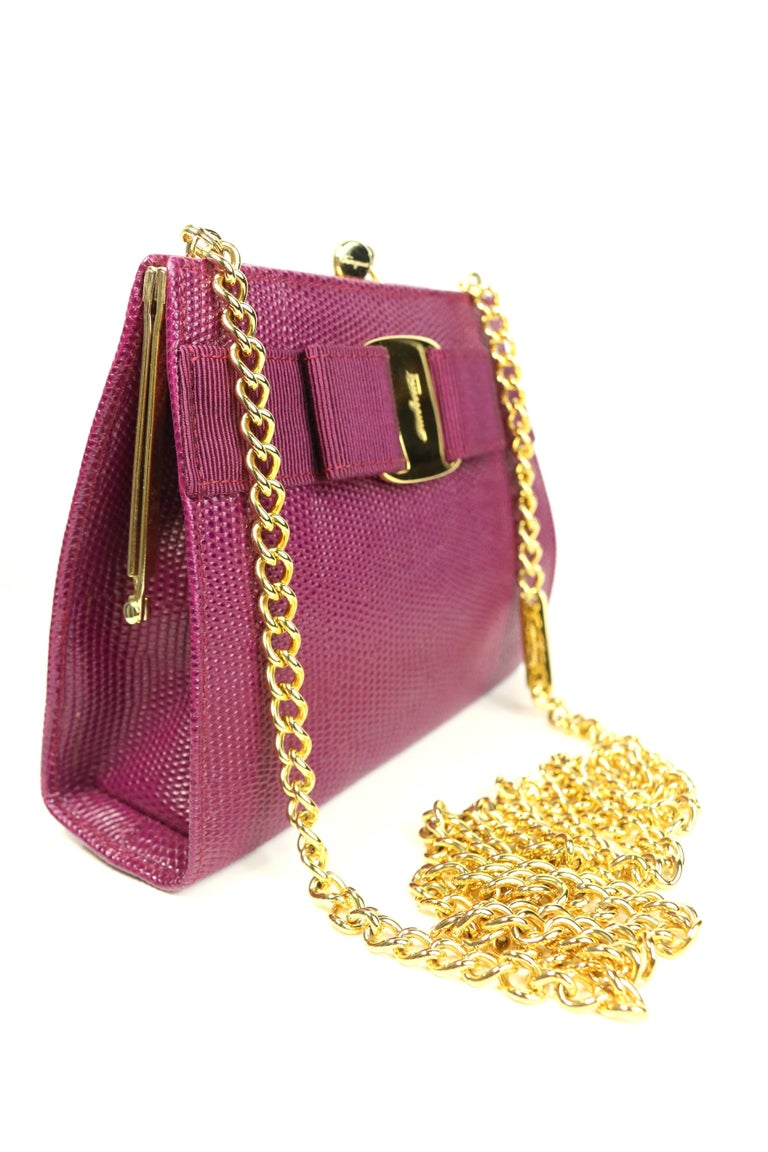 Brown Salvatore Ferragamo Purple Lizard Skin Gold Chain Shoulder Bag For Sale