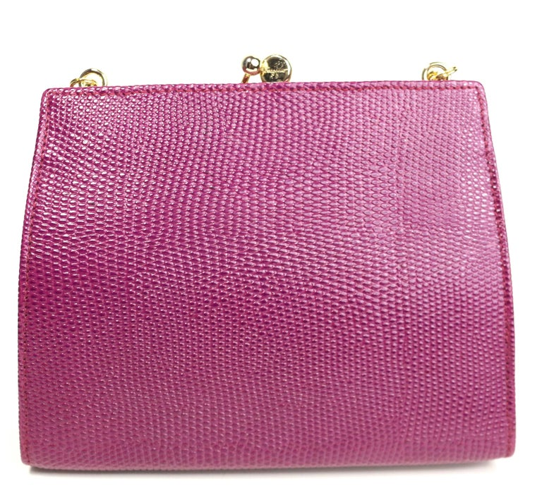 Women's Salvatore Ferragamo Purple Lizard Skin Gold Chain Shoulder Bag For Sale