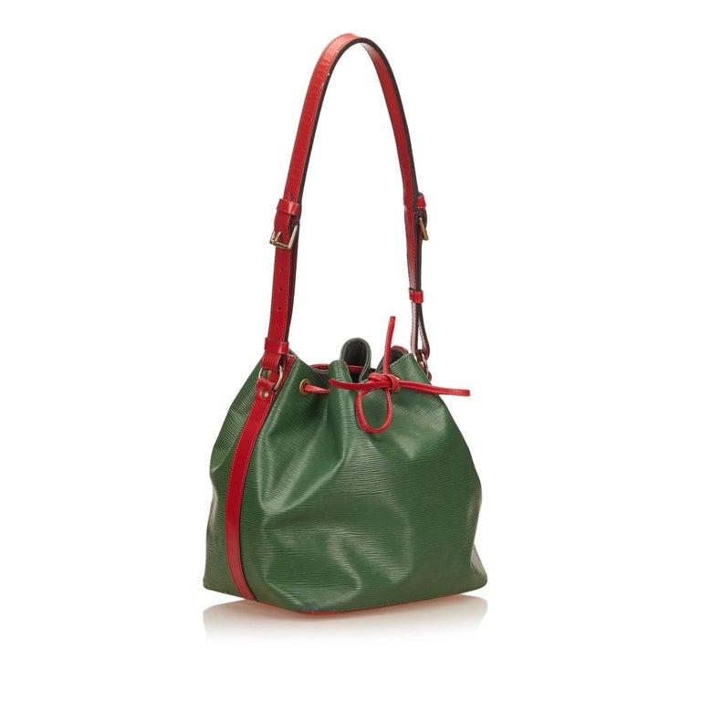 Black Louis Vuitton Epi Bicolour Green x Red Petit Noe For Sale
