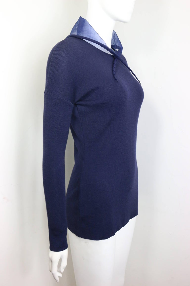 Liviana Conti Navy Blue Wool Sweater with See Through Hoodie  2