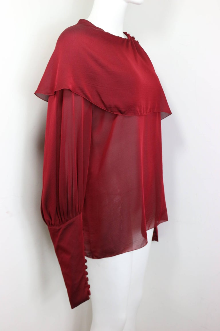 Chanel Red Silk Victorian Style Long Sleeves Shirt  In Excellent Condition For Sale In Sheung Wan, HK