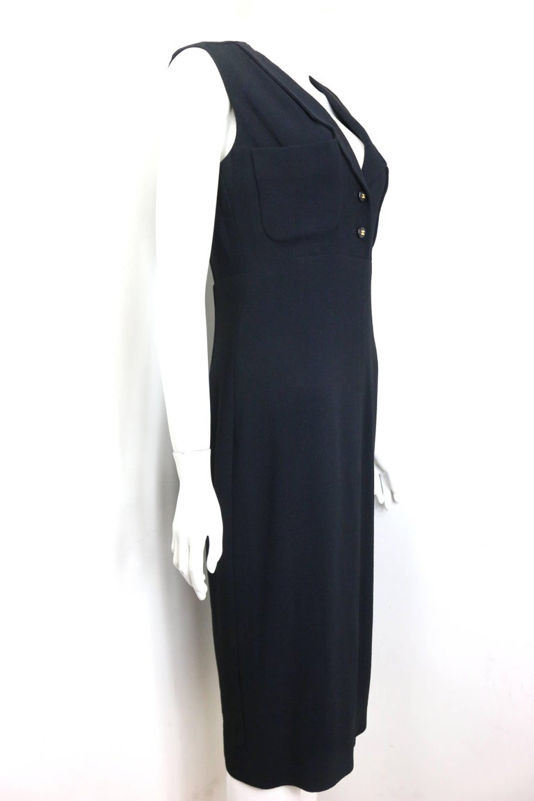 Chanel Classic Black Wool Long Dress  In Excellent Condition For Sale In Sheung Wan, HK