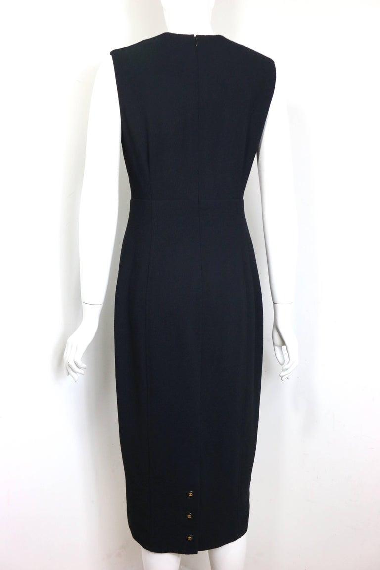 Women's Chanel Classic Black Wool Long Dress  For Sale