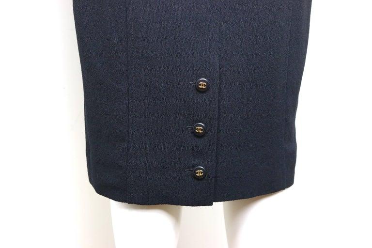 Chanel Classic Black Wool Long Dress  For Sale 1