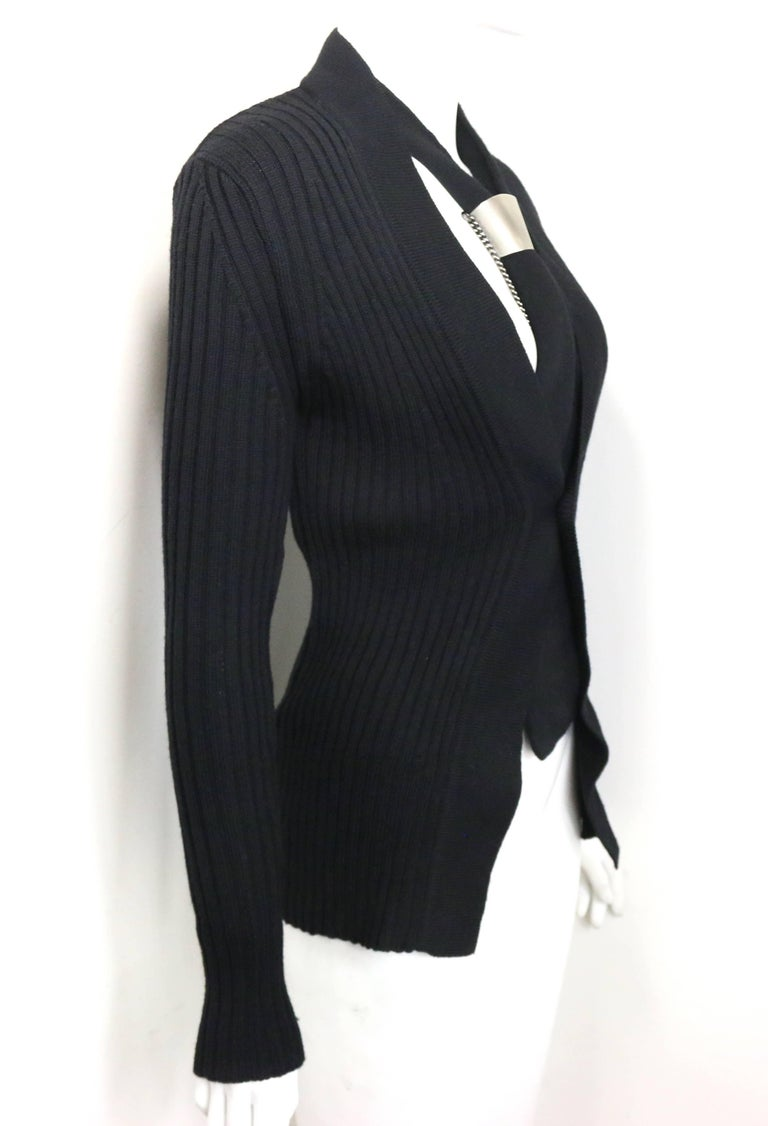 Women's or Men's Dirk Bikkembergs Black Wool Cardigan with Silver Toned Hardware Tie Clip  For Sale