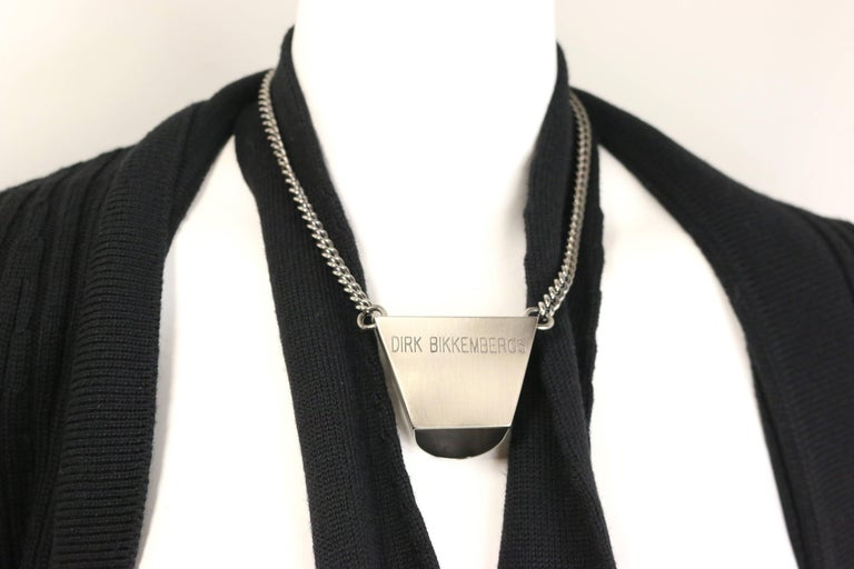 Dirk Bikkembergs Black Wool Cardigan with Silver Toned Hardware Tie Clip  In Excellent Condition For Sale In Sheung Wan, HK