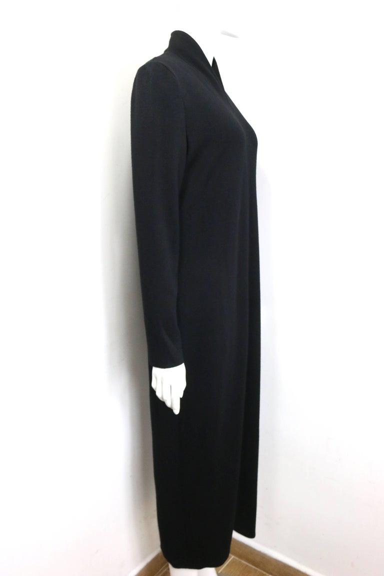90s Celine Black Wool V-Shaped Neckline Long Dress  In Excellent Condition For Sale In Sheung Wan, HK