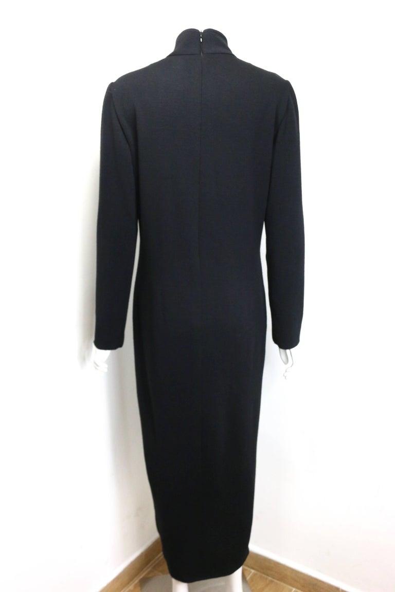 Women's 90s Celine Black Wool V-Shaped Neckline Long Dress  For Sale